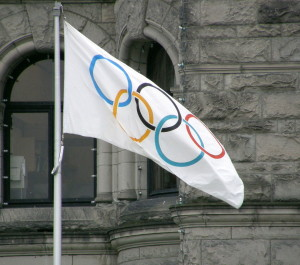 Olympic flag flying in Victoria