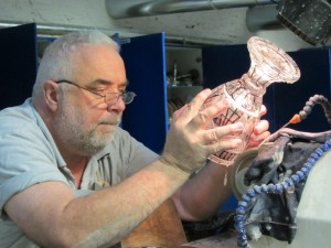 Artist at Waterford Crystal factory in Ireland